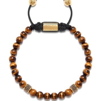 Men's Beaded Bracelet with Brown Tiger Eye and Gold/Black