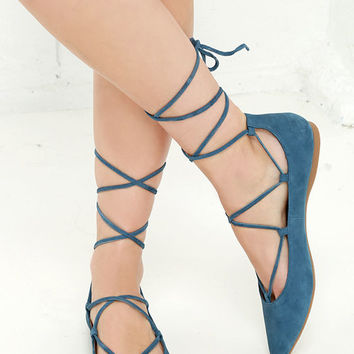 Steve Madden Eleanorr Blue Suede Leather Ankle Wrap Flats