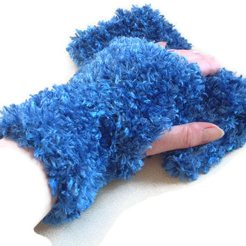 Luxurious Fingerless Mittens/Gloves in Blue. Fashion Accessories, Wrist warmers, Winter Warmers, Gift,