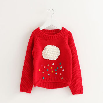 winter long-sleeve kids knitted sweater clouds pattern princess sweater baby girls children clothing toddler girls sweater