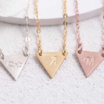 Hand Stamped Triangle Necklace Personalized Triangle Necklace Birth Date Name Initial Roman Numeral Gift for Her Sterling Silver LVMKH7