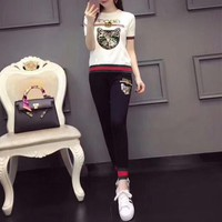"""Gucci"" Women Casual Fashion Knit Multicolor Sequin Cat Head Letter Embroidery Short Sleeve Trousers Set Two-Piece Sportswear"