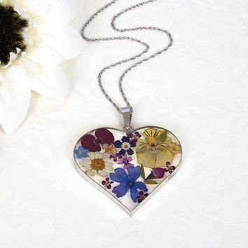 Taxco Flowers™ Large Sterling Silver Dried Flower Heart Statement Necklace