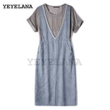 YEYELANA 2017 New Summer Casual Dress Women Dresses 0-Neck Half Sleeve Embroidery Slim Dress Vintage Vestidos A062