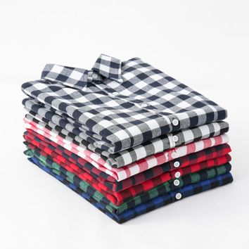 Women's Shirt New Fashion Female Classic Style Blouses Long Sleeve Flannel Plaid Shirt Casual Plus Size Office Tops Blusas