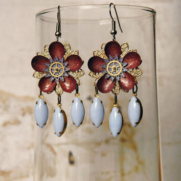 Steampunk Garden Party Earrings in Burgundy and by bionicunicorn