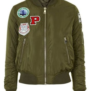 Topshop 'Bruce' Patch Detail MA1 Bomber Jacket (Regular & Petite) | Nordstrom