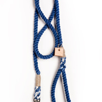 Dog leash dog collar pet accessory dog lead: Small navy cotton rope 50""