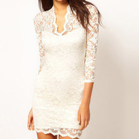 Elegant Women's Sexy V-neck Pencil Fit Mini Slim Lace Dress Cocktail Casul Party