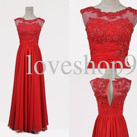 Long Red Lace Prom Dresses Unique Handmade Flower Party Dress Formal Party Evening Dresses Homecoming Dresses