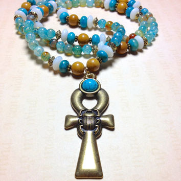 Egyptian Ankh Necklace || Blue Agate, White Jade, Jasper || Ankh Cross || Isis | King Tut | Cleopatra | Egyptian Jewelry | Ankh Jewelry