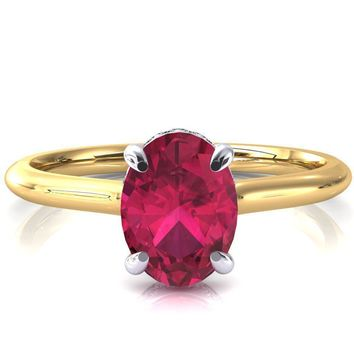 Secret Oval Ruby 4 Prong Floating Halo Engagement Ring