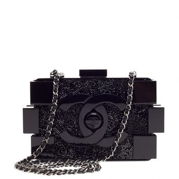 Chanel Lego Clutch Crystal Embellished Plexiglass