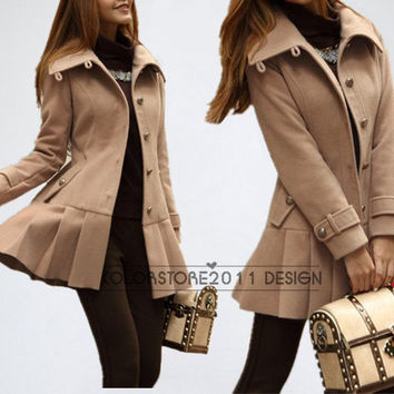 women's camel cape Fitted Wool Coat jacket Wool Cape coat winter coat jacket cute coat dy22 S-XXL