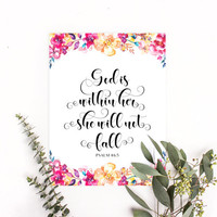 Psalm 46:5, God is within her she will not fall, Christian art print, Christian wall art, Bible verses for kids, Inspirational Bible quotes