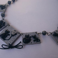 Cats necklace - Cat lover jewelry - Unique handmade necklace - Crazy cat lady jewelry :)