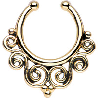Gold Tempest of Swirls Non-Pierced Clip On Septum Ring | Body Candy Body Jewelry