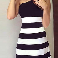 Black Striped One Shoulder Bodycon Dress