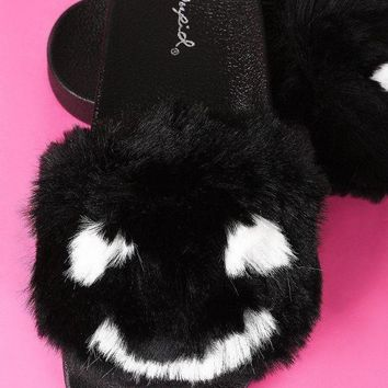 Qupid Faux Fur Smiley Face Open Toe Slide Sandal