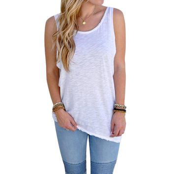 2017 New Women Backless Vest Irregular Hem Sleeveless Top Loose Casual White Tops Solid Color Tank Tops Fitness Tank Tops Vest