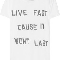 Zoe Karssen Live Fast cotton and modal-blend T-shirt – 50% at THE OUTNET.COM