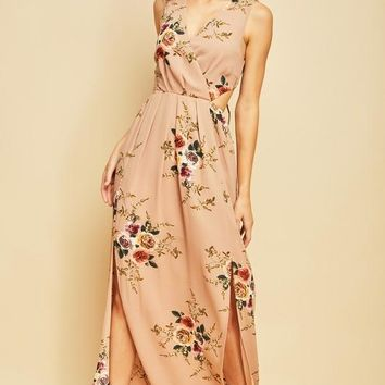 Floral Print Maxi Dress with Double Slits at Hem - Taupe