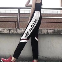 Adidas Pants Couples Bunches Clover Straight Thin Sections Sports Pants White
