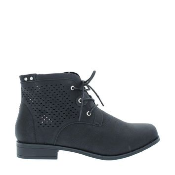 Laser Cut Shimmer Ankle Boot (BLACK)