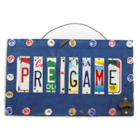 """License Plate """"Pre-Game"""" Sign w/ Bottle Opener"""