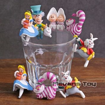 PUTITTO Series Alice in Wonderland Alice Cheshire Cat White Rabbit Mad Hatter PVC Figures Toys 5pcs/set