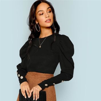 Black Elegant Office Lady Puff Sleeve With Button Detail Long Sleeve Solid Tee Workwear Women Tops And T shirt