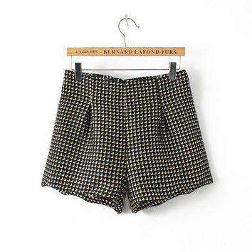 Winter Korean Thicken High Rise Boot Cut Shorts [4917820868]