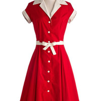 Comedy Hour Dress in Solid Red