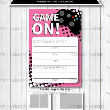 Printable Invitation, Video Game Party, Game On, Pink, Teen, Gaming, Level Up, Gamer, Birthday, Decorations, DIY,  INSTANT DOWNLOAD