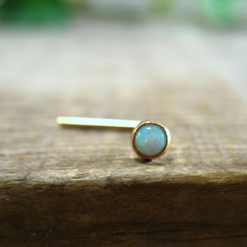 Nose & Tragus Stud White Opal Gold 3mm