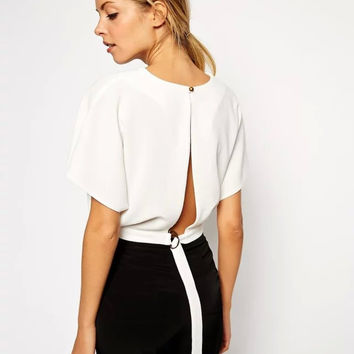 Casual White Chiffon Open Back Crop Top