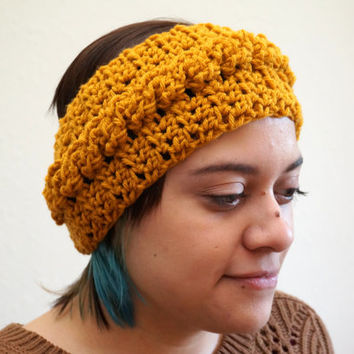 cable knit headwrap, yellow headwrap, cable headwrap, crochet headband, braided headband, earwarmer / THE YORK / Mustard / Acrylic