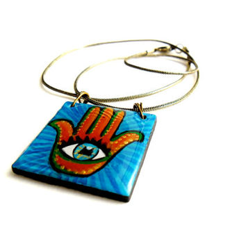 Ancient Hamsa Necklace, Hand of God Hand Painted Egyptian Necklace, Historic Khamsa Jewelry, Turquoise Hand of Friendship Egyptian Amulet