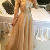 Elegant Prom Dress, Evening Dress,Appliques Gold Applique Long Sleeve Dress