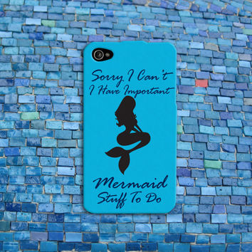 Funny Disney Little Mermaid iPhone Case Cute Ariel Quote Aqua Blue Phone Case iPhone 4 iPhone 5 iPhone 4s iPhone 5s iPhone 5c Case