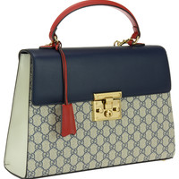 Gucci Blue Padlock GG Supreme top handle bag