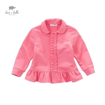 DB4406 davebella spring fall baby girl berry red coat ruffles outerwear kids fancy beautiful clothes