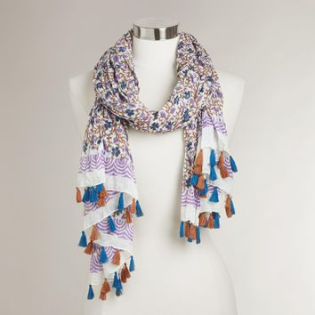 Blue and Purple Floral Scarf with Tassels