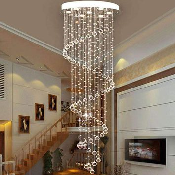VALLKIN Ceiling Chandeliers Modern Fashion Spiral Crystal Pendant Lamp for Bar Hotel Indoor Home Deco Cafe LED Lamps