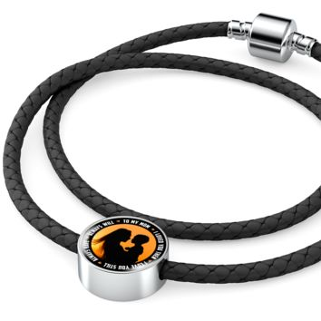 'To My Mom, I'll Love You Always' Personalized Leather Charm Bracelet