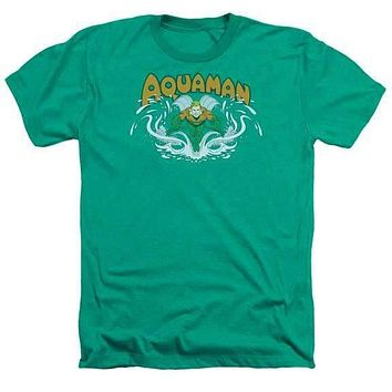 Mens Aquaman Splash Kelly Green Heathered T-Shirt