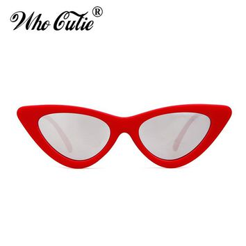 WHO CUTIE 2018 Small Cateye 90s Sunglasses Sexy Women Vintage Cat Eye Frame Red Mirror Lens Tiny 80s 90s Sun Glasses Shades 440B