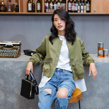 Army Green Hooded Polyester Bomber Jacket