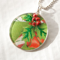 Green Christmas Card Pendant, Candy Cane, Holly, Christmas Necklace