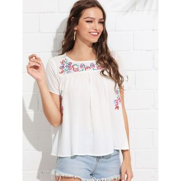 Beige Flower Embroidered Tunic Top